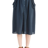 Boho Long Just Dandy Skirt in Slate Blue