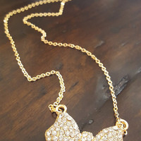 Statement Necklace Gold plated long chain Big bow rhinestones pendant Dainty necklace Dainty jewelry