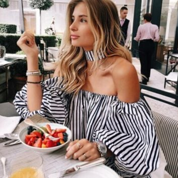 Casual Loose Stripes Off Shoulder Half Sleeve Blouse Shirts