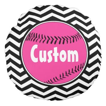 Black White and Pink Customizable Softball Pillow