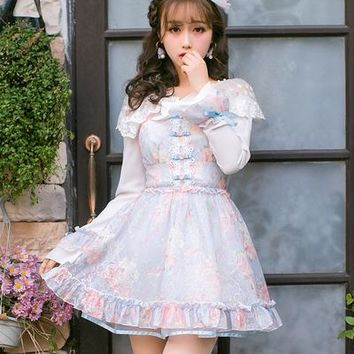 Princess sweet lolita dress Candy rain Japanese sweet gauze sleeve lace dress female slim long sleeved dress  C22AB7021