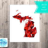 Michigan LOVE Print - Geometric Map Watercolor - Hipster Art  - Red - Triangle - Map Painting - Affordable Art - Design - Small Space