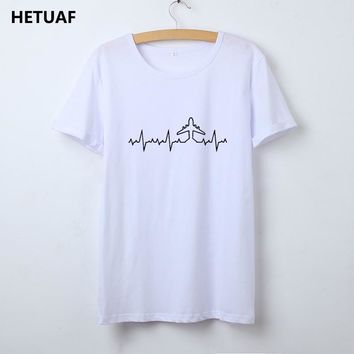 HETUAF Heartbeat Plane Pilot T Shirt Women Graphic O-neck Printed Tee Shirt Femme Cotton Tumblr Woman Tshirt Top Camisetas Mujer