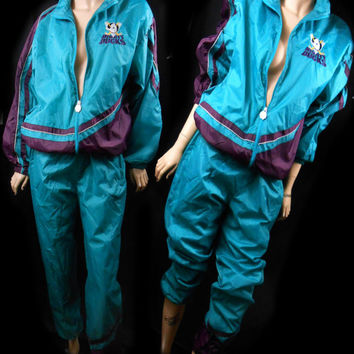 Vintage 90s Mighty Ducks Anaheim Hockey Movie Warm Up Jogging Track Sports Retro Jogging Suit Running Jumpsuit Pant Tracksuit Starter Jacket