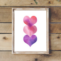 Watercolor Painting Hearts Love Printable 3 Pink Red Purple Hearts Valentine's Day Print Instant Download 8x10 11x14 Baby Nursery Teen Room