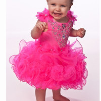 Lovely Pretty Hot Pink Crystal Beaded Toddler Pageant Gowns Girls Cupcake Pageant Dresses Vestido Primeira Comunhao,FD051
