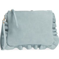 Sole Society Adelina Faux Leather Ruffle Clutch | Nordstrom