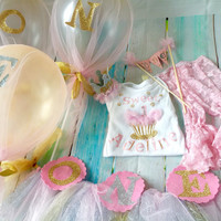 First Birthday Girl Package - Party Decoration Set - Full Photo Prop Smash Cake Decorations and Outfit - 14 Piece Set - Party in a Box