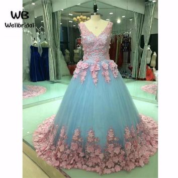 Ball Gown 2017 Fashion Prom dresses Long with Flowers V-Neck Vestidos de fiesta dress for graduation Formal Evening Prom Dress