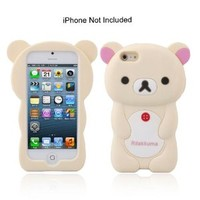 3D Silicone Smart Phone Cases Cover for Apple iPhone 5, Teddy Bear Design,Beige