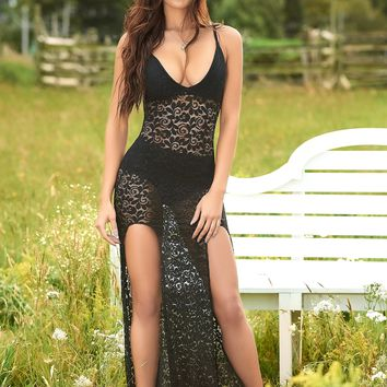 Black Lace V Neck Lingerie Gown with Matching Panty