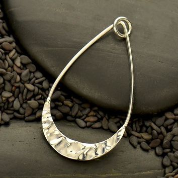 Silver Teardrop Pendant with Hammer Texture Bottom Edge