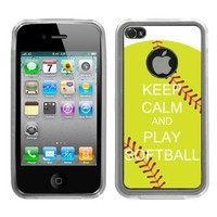 One Tough Shield ® Hybrid Flexible/Rigid Phone Case for Apple iPhone 4 4S - (Keep Calm/Softball Green)