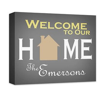 Personalized Family Welcome to Our Home Canvas Wall Art