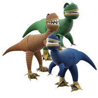 Dinosaur Toys for Boys - Set of 3 Allosaurus in Navy Blue, Forest Green and Light Brown