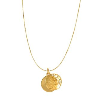 14k Yellow Gold Tree Of Life Charm Necklace, 18""