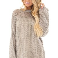 Heather Grey Thick Loose Knit Oversized Sweater