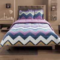 Student Lounge Chevron Wave Stripe Twin XL Bed Comforter & Sham Set Reversible