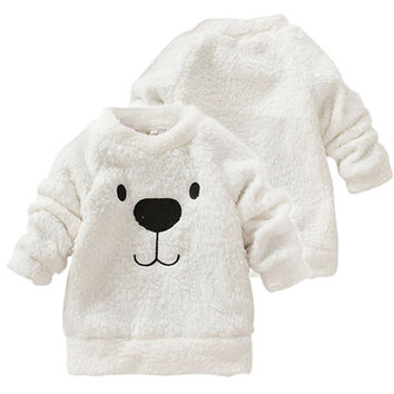 Kids Clothes 2016 Autumn Winter Baby Boys Girls Sweater Lovely Bear Furry White Coat Thick Warm Sweaters Coat Children Clothing
