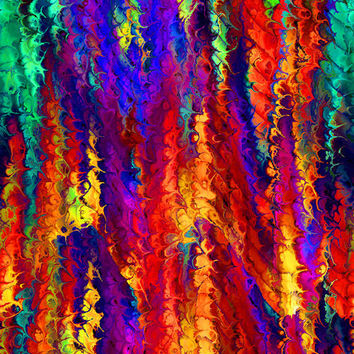 Textile Artist Made Apparel Performance Knit Fabric Fiber Art Waves of Bright Colors