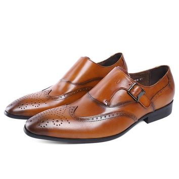 Genuine Leather Perforated Wingtip Detail Brogue Shoes