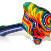 Acid Rainbow Glass Wig Wag Pipe for Smoking - Heady Colorful Spoon Bowl w/ Incredible Full Reversal Pattern