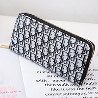 DIOR Fashionable Women Letter Print Zipper Wallet Purse Clutch Bag Black