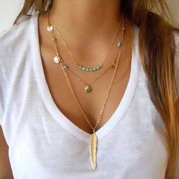 Women Multilayer Irregular Gold Pendant Chain Statement Necklace Gift 111901