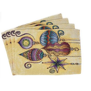 """DaDa Bedding Bohemian Ornaments Placemats, Set of 4 Christmas Tapestry 13"""" x 19"""" (14916)"""