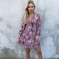 Secret Admirer Mauve Floral Dress