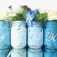 WISH, set of 4, Hand Painted Mason Jars | Rustic - Style Home Decor -- Blue, Painted Mason Jars