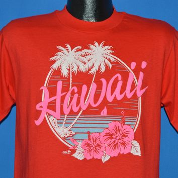 80s Hawaii Neon Palm Tree Hibiscus t-shirt Medium