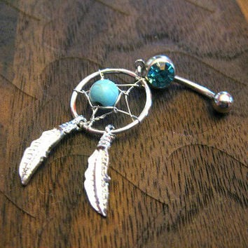 Turquoise -- Dream Catcher Belly Button Ring