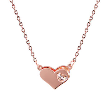 "Dainty Choker Necklace Rose Gold Finish Heart Pendant CZ Womens 0.4"" Stainless Steel"