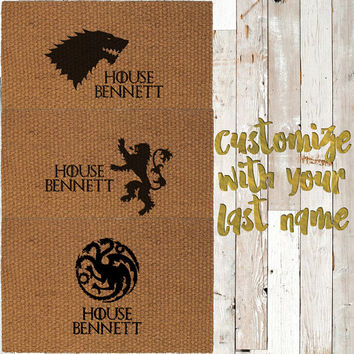 Game of Thrones Inspired Custom Last Name Hand Painted Coir Doormat - Choose from Stark (Wolf), Targaryen (Dragon), or Lanniser (Lion)