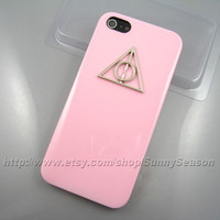 IPhone 5 Case,Silver Harry Potter Deathly Hallows Pink iphone 5 Hard Case