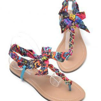 T Shape Flat Sandals with Chiffon Bowtie NI94