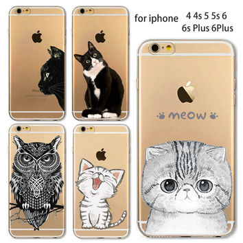 Phone Case For Apple iPhone 7 6 6S 6Plus 6s Plus 4 4S 5 5S SE 5C Soft TPU Silicon Transparent Cover Cute Cat Owl Animal Cases