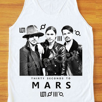 30 Seconds to Mars Shirt Jared Leto Shirt Alternative Rock Shirt Tank Top Women Shirt Unisex Shirt Vest Sleeveless Singlet White Shirt S,M,L