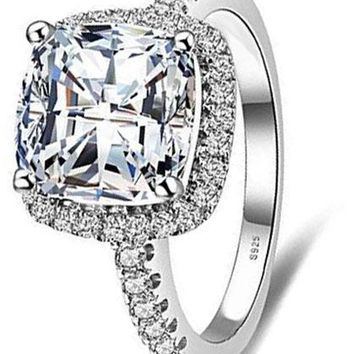 3ct Cubic Zirconia Wedding Halo Solitaire Engagement Ring 925 Sterling Silver