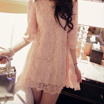 Pink Cut Out Pleated Dress