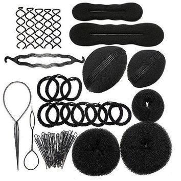 DKLW8 1Set Hairdressing DIY Hair Accessories Sponge Disk Hair Increased Pad Hair Pin Clip Rubber Band Professional Tools Braid Style