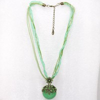 Fashion Women ladies Crystal Rhinestone Daisy Flower Pendant Necklace Sweater Chain , Green Color