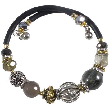 Glass Stone and Charms Memory Wire Wrap Bangle (Gray)