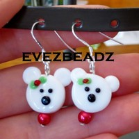 925 Sterling Silver Polar Bear Earrings
