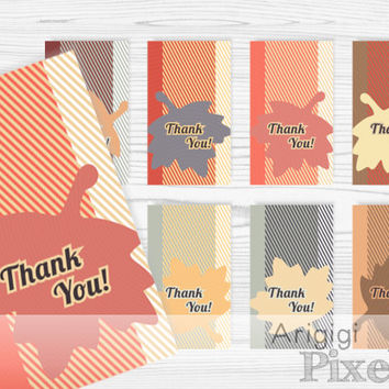 Thank You Hang Gift Tag, Thanksgiving printables, blank tag included, falling leaves, fall colors, instant download PDF file, PNG file