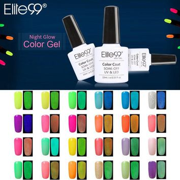 Elite99 1pc UV Gel Night Glow In Dark Lacquer Varnishes Soak-off UV LED Nail Gel Fluorescent Neon Luminous Colors Nail Polish