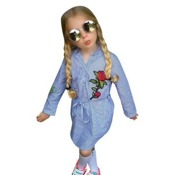 Girls Rose Embroidered Blue Striped Dress