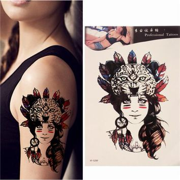 Waterproof Temporary Tattoos Tribal Girl Body Arm Leg Art Sticker Removable
