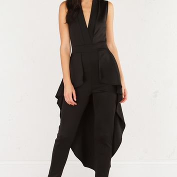 Jumpsuit With Plunging Neckline and Attached Train in Black